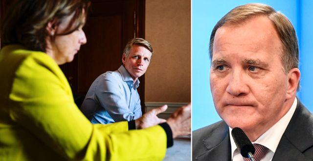 Isabella Lövin och Per Bolund (MP)/Stefan Löfven (S).  TT