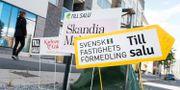 Skyltar från olika mäklarfirmor. Fredrik Sandberg/TT / TT NYHETSBYRÅN