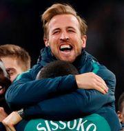 Harry Kane firar efter semifinalsegern mot Ajax.  MATTHEW CHILDS / TT NYHETSBYRÅN