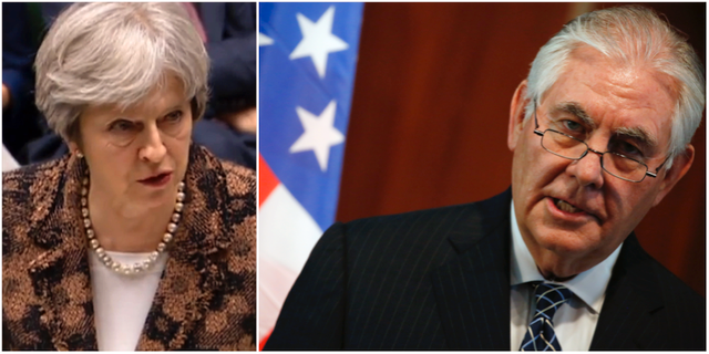 Theresa May och Rex Tillerson TT