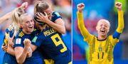 Svenskt firande i matchen mot Tyskland / Caroline Seger.  Bildbyrån