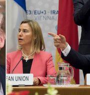 Till vänster: Donald Trump i samband med att han återinförde sanktionerna mot Iran på tisdagskvällen. Till höger: EU:s Federica Mogherini och Irans utrikesminister Javad Zarif i samband med att avtalet förhandlades fram år 2015 TT