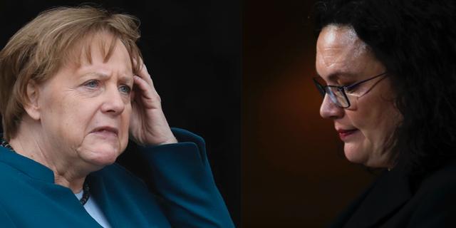 Angela Merkel och Andrea Nahles. TT