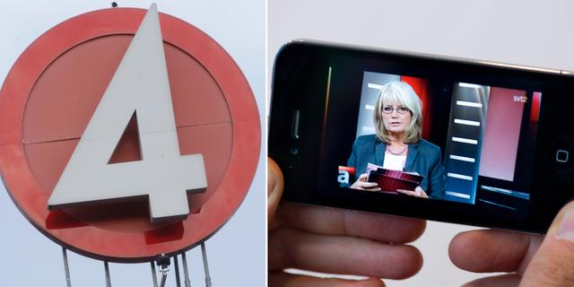 TV4:s logga och en SVT-sändning i mobil.  TT