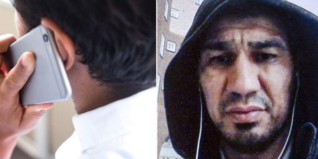 Vänster: Man med mobiltelefon. Höger: Terroråtalade Rakhmat Akilov. TT