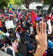 Protesterna i Thailand. Wason Wanichakorn / TT NYHETSBYRÅN