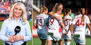 SVT:s expert Frida Östberg/Rosengård firar efter ett mål. Bildbyrån