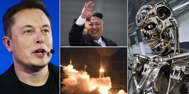 "Elon Musk, Kim Jong-Un, Nordkoreansk robot, intelligent robot ur filmen ""Terminator"". Arkivbilder. TT"