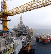 Vy över Equinors oljeplattform i Johan Sverdrup-fältet i Nordsjön.  Nerijus Adomaitis / TT NYHETSBYRÅN