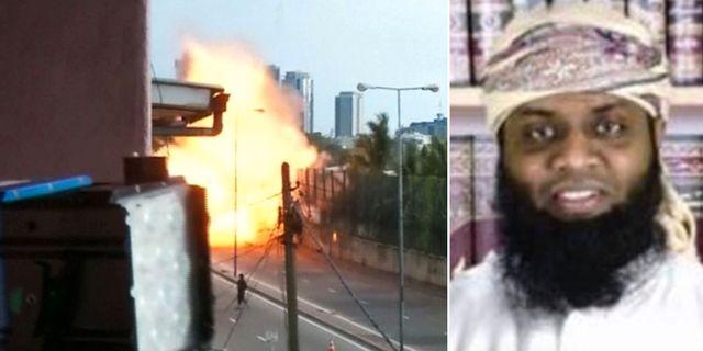 Bild från en detonation i Sri Lanka/Zahran Hashim. TT