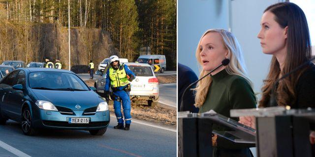 Vägkontroll/och finska ministrarna Maria Ohisalo och Sanna Marin.  TT.