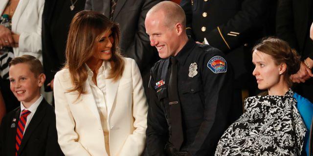 Melania Trump under förra årets tal med gäster.  Pablo Martinez Monsivais / TT NYHETSBYRÅN/ NTB Scanpix
