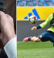 Emil Forsberg under torsdagens träning med fotbollslandslaget på Friends arena inför VM-kvalet mot Frankrike. TT