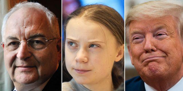 FT:s Martin Wolf, Greta Thunberg och Donald Trump Ronald Zak/AP, Ali Lorestani/TT, Evan Vucci