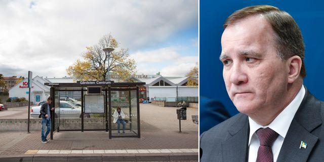 Busshållplats i Gårdsten/Stefan Löfven. TT