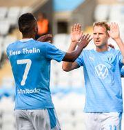 Malmö FF jublar efter 2–0-målet. LUDVIG THUNMAN / BILDBYRÅN