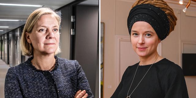 Magdalena Andersson (S) och Amanda Lind (MP). TT