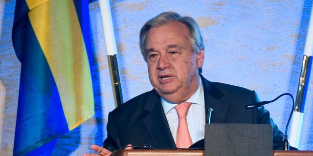 António Guterres på FN-mötet i Backåkra. TT NEWS AGENCY / TT NYHETSBYRÅN