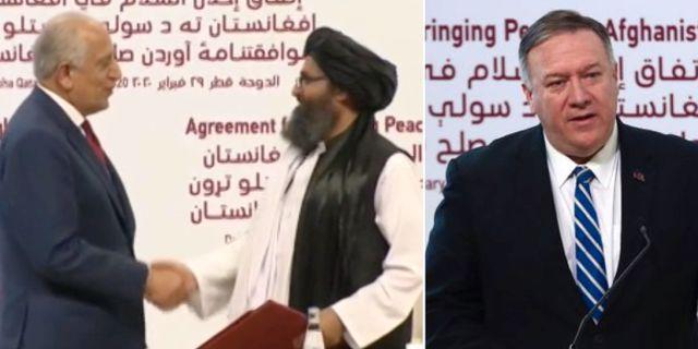 USA och talibanernas delegationer skrev under avtalet i Doha på lördagen / Mike Pompeo talade från scenen. CNN/TT