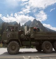 Indiskt militörfordon i Ladakh-regionen, 1 september. Mukhtar Khan / TT NYHETSBYRÅN