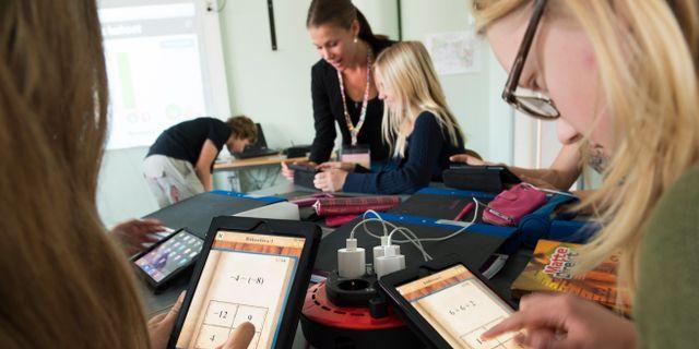 Digital matteundervisning på grundskola/arkivbild.  Fredrik Sandberg/TT / TT NYHETSBYRÅN
