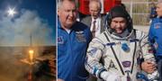 Aleksej Ovchinin och en bild på Sojuzraketen.  TT