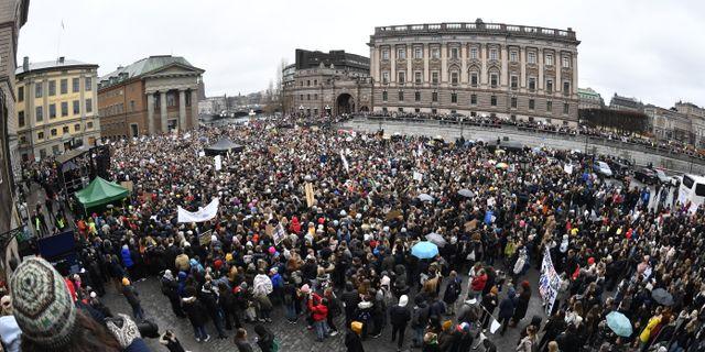 "Demonstranter som deltar i den globala kllimatstrejken ""Global strike for future"" på Mynttorget i Stockholm. Henrik Montgomery/TT / TT NYHETSBYRÅN"
