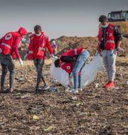 Räddningsarbetare vid olycksområdet i Etiopien. Mulugeta Ayene / TT NYHETSBYRÅN