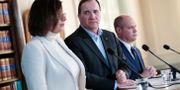 Isabella Lövin (MP), Stefan Löven (S) och Morgan Johansson (S) i samband med statsministerns jultal, när han talade om förslaget. Kicki Nilsson/TT / TT NYHETSBYRÅN