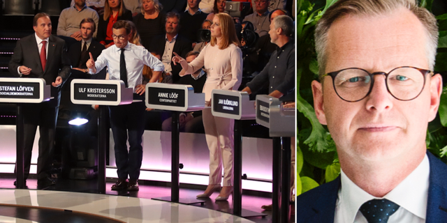 Partiledarna under partiledardebatt i Göteborg. Mikael Damberg (S).  TT