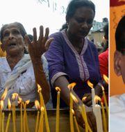 Kvinnor i Sri Lanka tänder ljus efter terrordåden/ President Maithripala Sirisena  TT