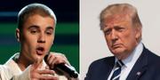 Justin Bieber och Donald Trump. TT