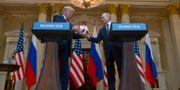 Donald Trump/Vladimir Putin under presskonferensen. Pablo Martinez Monsivais / TT / NTB Scanpix