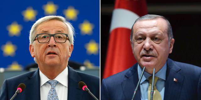 EU-kommissionens ordförande Jean Claude Juncker och Turkiets president Recep Tayyip Erdogan. TT