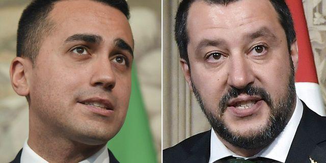 Femstjärnerörelsens ledare Luigi Di Maio och Legas dito Matteo Salvini. Arkivbilder. TT