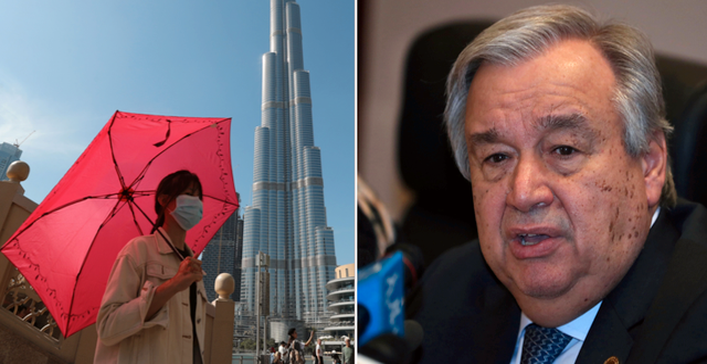 Kvinna med mask i Dubai / FN-chefen António Guterres  Kamran Jebreili, Tiksa Negeri / TT