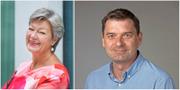 Ylva Johansson och Magnus Blomgren. Arrangerad bild. TT / Pressbild Umeå universitet