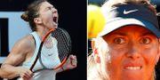 Simona Halep och Maria Sjarapova under matchen idag. TT